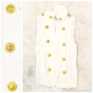White Vest Gold Buttons S